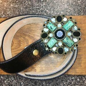 Turquoise & Black Gem Belt Buckle & Leather Belt